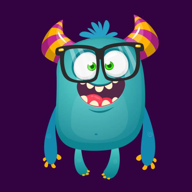 Lustige Bigfoot tragen Brillen winken. Vektor-Illustration von aufgeregt monster – Vektorgrafik