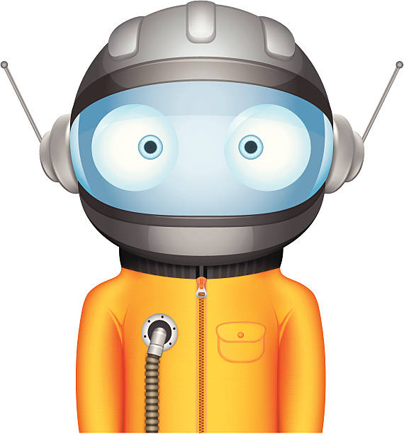funny bighead cosmonaut character - cartoon of a hazmat suit stock illustrations, clip art, cartoons, & icons