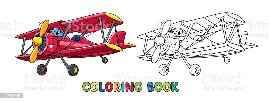 - Funny Biplane With Eyes Airplane Coloring Book Stock Illustration -  Download Image Now - IStock