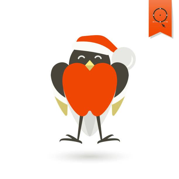 lustige vogel dompfaff in christmas mütze - dompfaff stock-grafiken, -clipart, -cartoons und -symbole