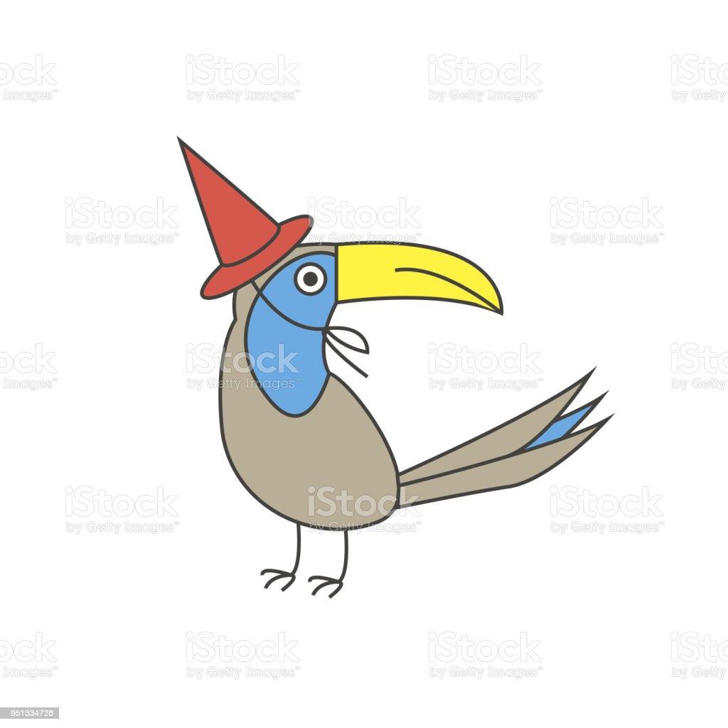 Engraçado ave com um bico grande em uma tampa vermelha - ilustração de arte em vetor