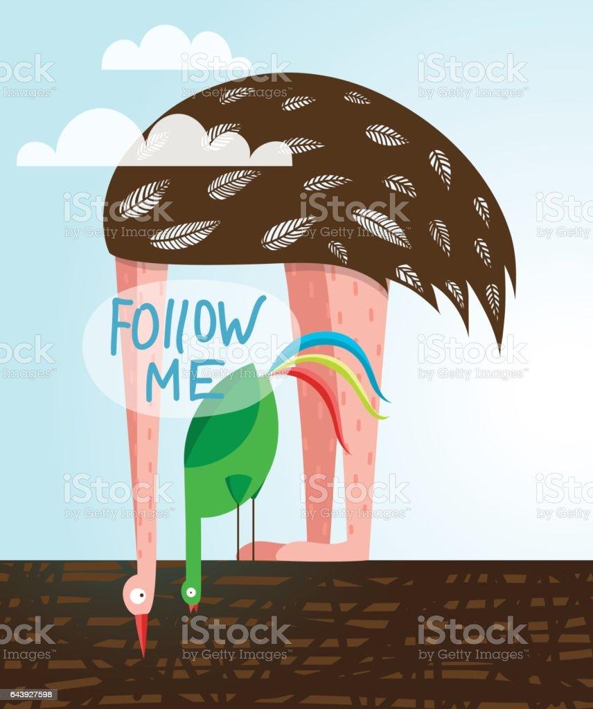 Galo e engraçado aves avestruz Me seguem Label - ilustração de arte em vetor