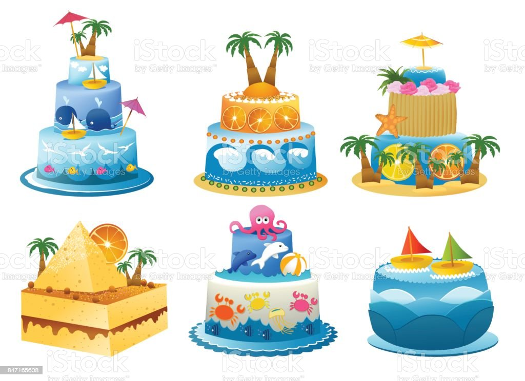 Funny Birthday Cakes Stock Vector Art More Images Of Art 847165608
