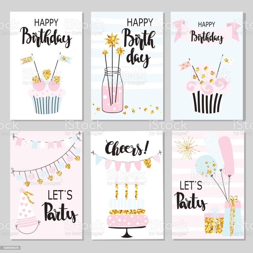 30 Lustige Geburtstagskarten Stock Vektor Art und mehr Bilder von Abstrakt