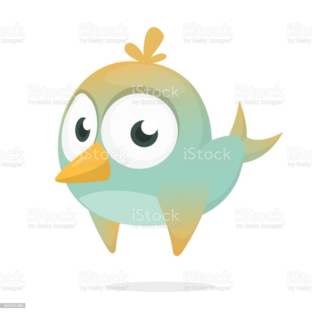 Funny blue bird cartoon. Vector illustration of forest blue bird isolated on white. Bird icon