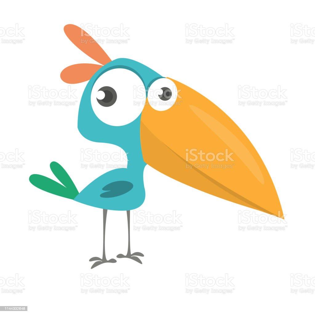Funny Blue Bird Cartoon Vector Illustration Stock Illustration