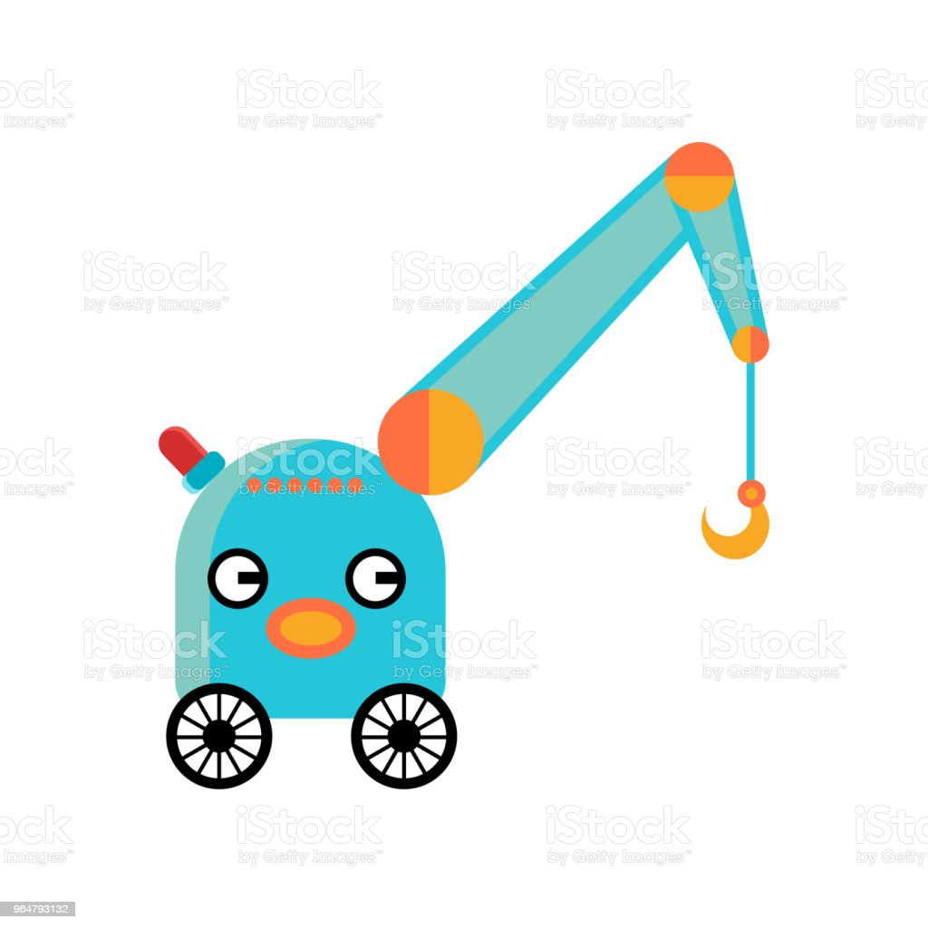 Funny blue crane robot with hook royalty-free funny blue crane robot with hook stock vector art & more images of blue