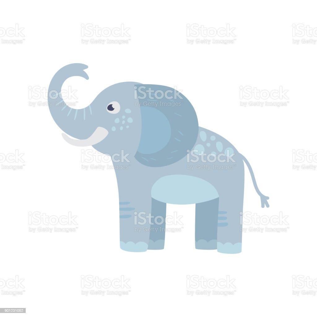 Funny Elephant Bleu Avec Tronc Long Des Oreilles Et Des Taches Sur