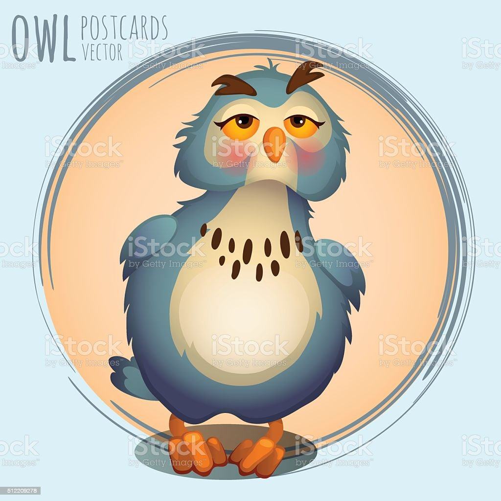 Funny blue owl, cartoon series vector art illustration