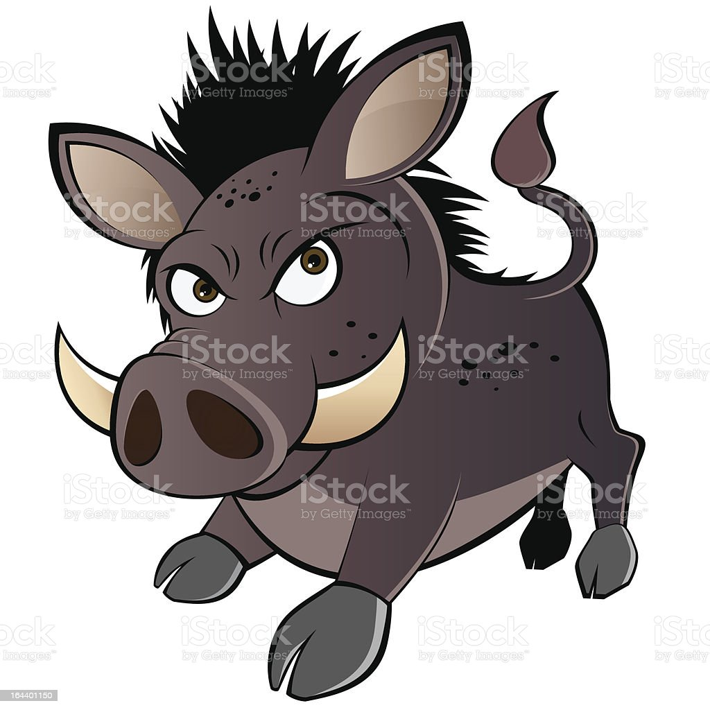 funny boar cartoon vector art illustration