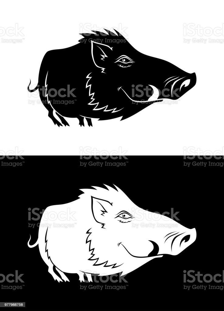 Funny boar silhouette vector art illustration