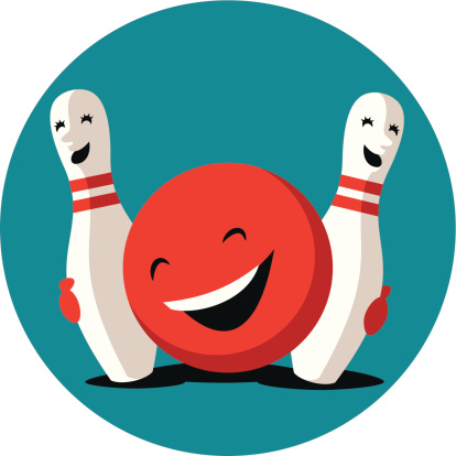 Funny bowling ball hugging with cute pins
