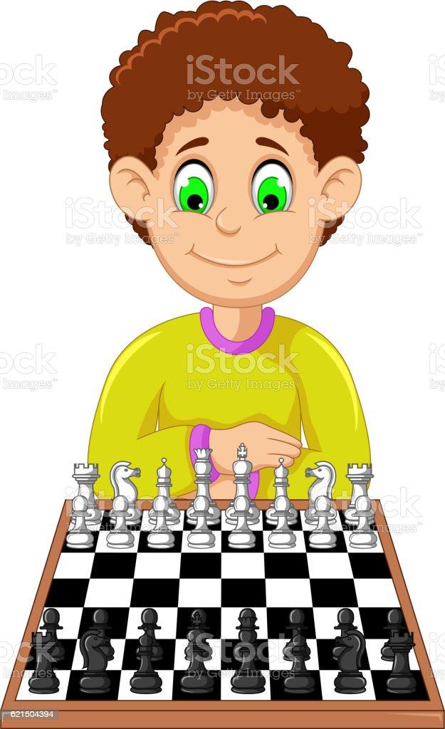 funny boy cartoon playing chess Lizenzfreies funny boy cartoon playing chess stock vektor art und mehr bilder von illustration