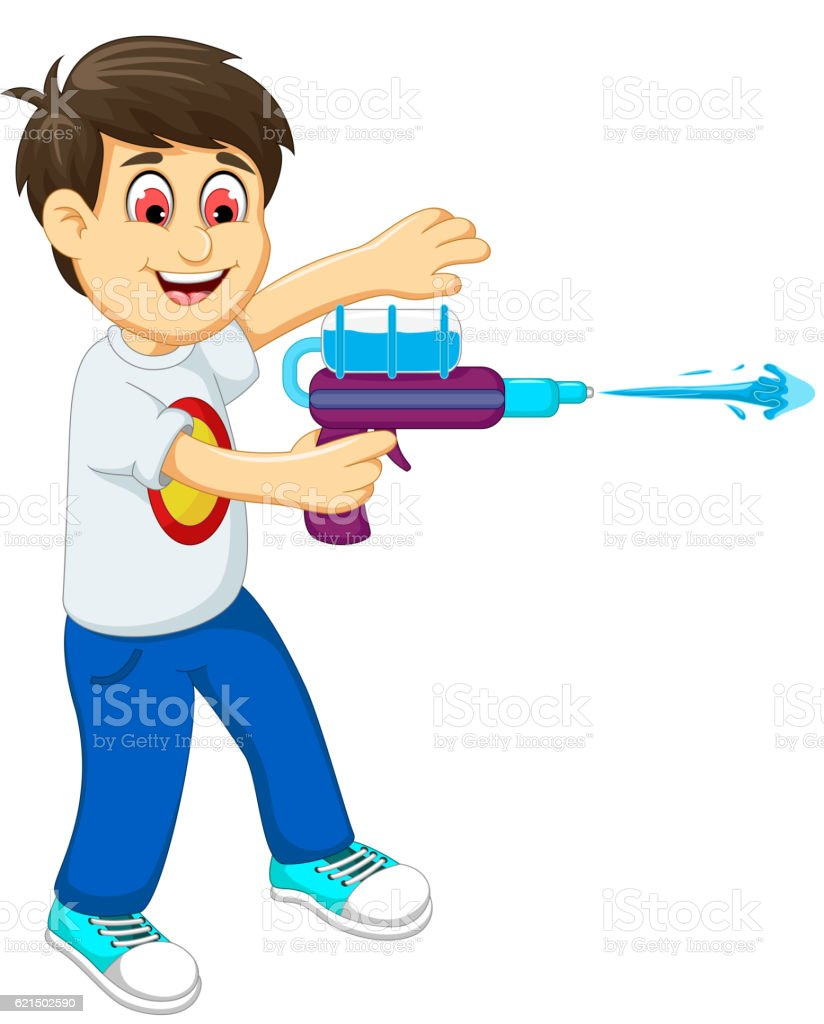 funny boy cartoon playing water gun funny boy cartoon playing water gun – cliparts vectoriels et plus d'images de asperger libre de droits
