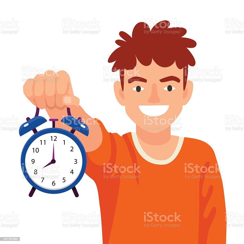 Funny boy holds an alarm clock in a hand vector art illustration