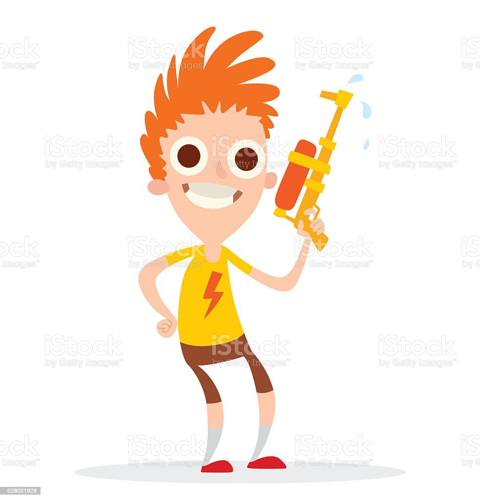 Funny boy with an orange-yellow water gun vector art illustration