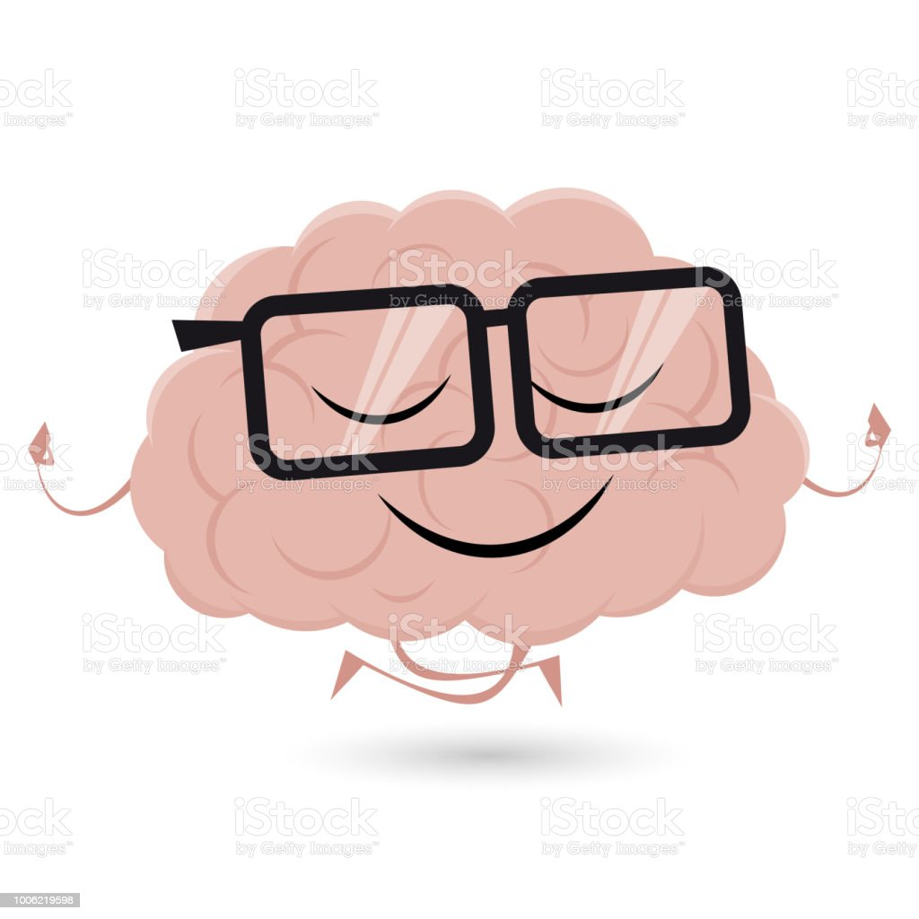 funny brain is doing yoga vector art illustration