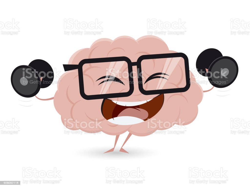 funny brain training with dumbbells clipart vector art illustration