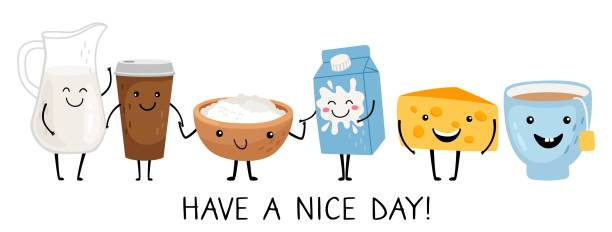 Funny breakfast characters vector art illustration