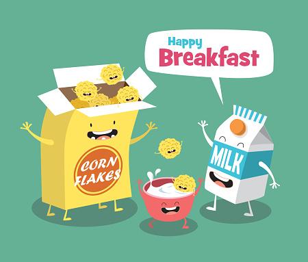 Funny breakfast set. Milk and Cornflakes. Comic characters