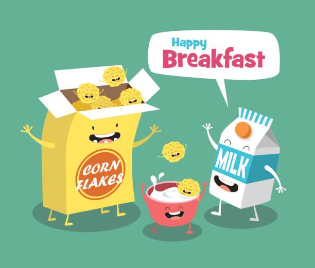 illustrazioni stock, clip art, cartoni animati e icone di tendenza di funny breakfast set. milk and cornflakes. comic characters - corn flakes