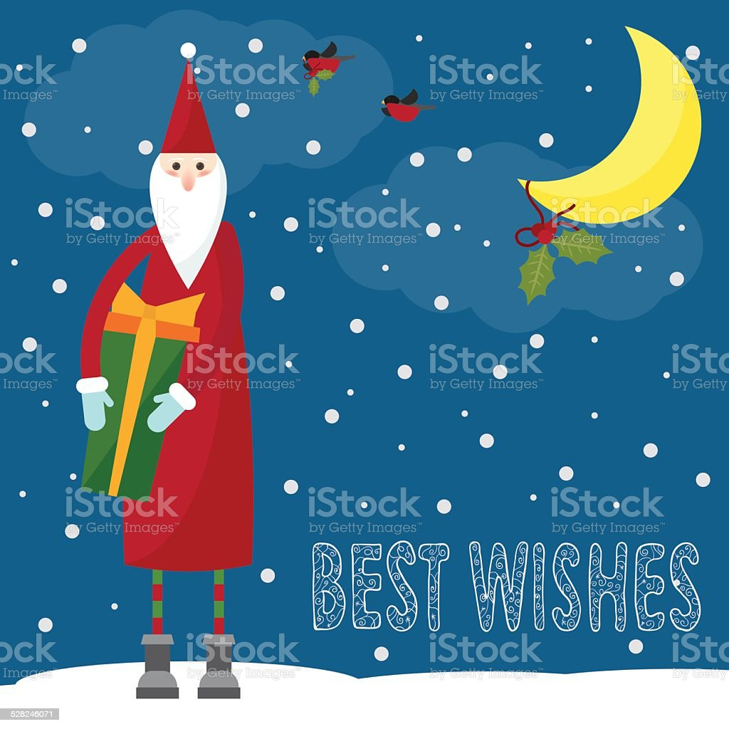 550cfeb509cc2 Funny bright winter holidays card background with hand-drawing best wishes  royalty-free funny