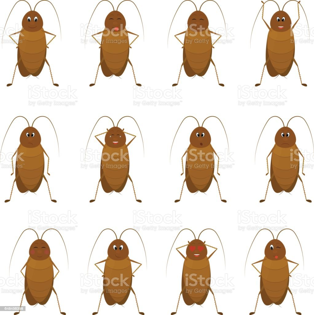 funny brown cockroach standing and smiling on a white background векторная иллюстрация