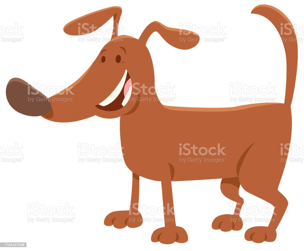 Funny Brown Dog Cartoon Animal Character Stock Illustration