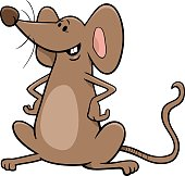 Cartoon Illustration of Funny Brown Mouse Comic Animal Character