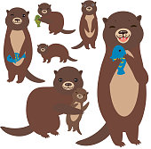 Funny brown otter collection on white background. Kawaii. Vector illustration