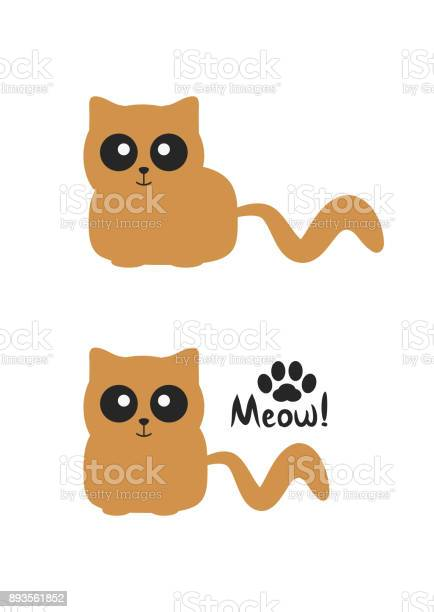 Funny brown smiling cat with big eyes silhouette paws and handwritten vector id893561852?b=1&k=6&m=893561852&s=612x612&h=g3d7qcddbcrgtfvmxpkpnge3xpbntitfs6mbrsgdq1k=