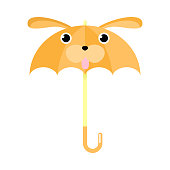 Hand drawn cartoon funny brown umbrella with dog animal face over white background vector illustration. Children accessories illustrations concept