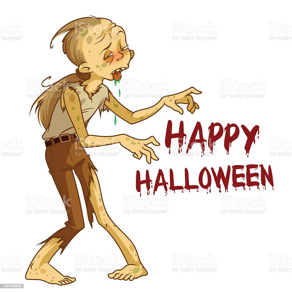 Funny brown zombie. funny brown zombie – cliparts vectoriels et plus d'images de adulte libre de droits