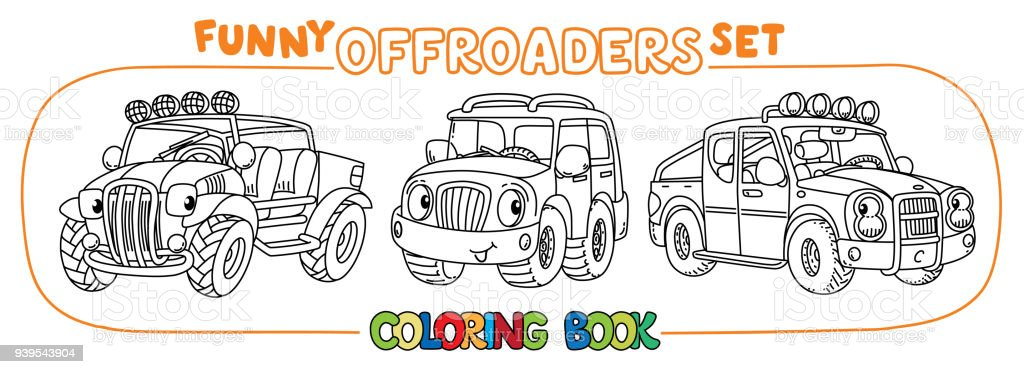 Funny Buggy Car Or Outroader Coloring Book Set Stock Illustration