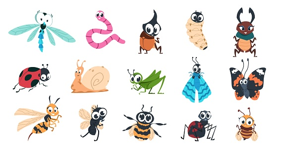 Funny bugs. Cartoon cute insects with faces, caterpillar butterfly bumblebee spider colorful characters. Vector illustration for kids