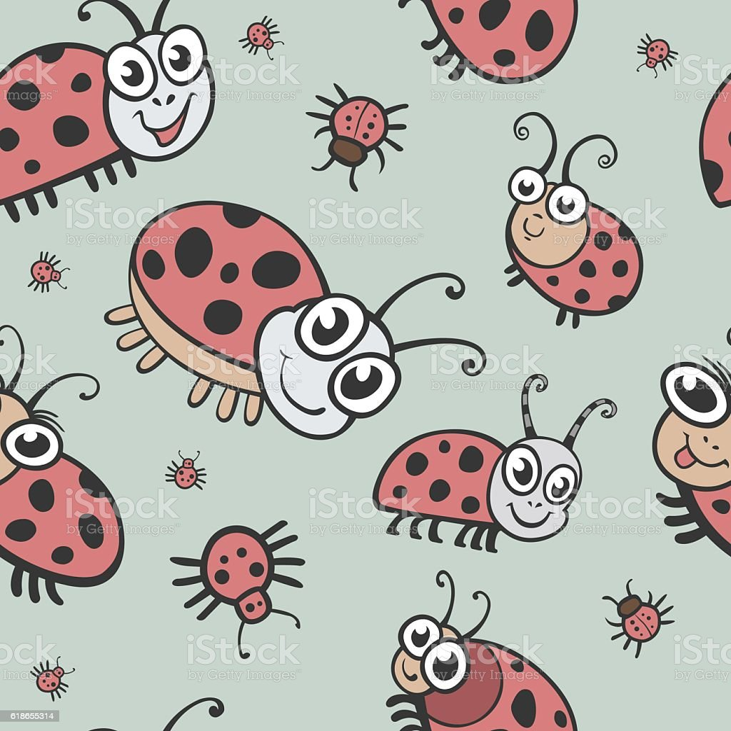 Funny Bugs Ladybird And Insects Seamless Vector Texture Seamless ...