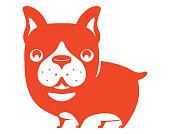 vector illustration of funny bulldog standing