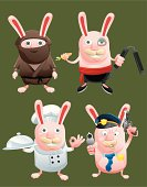 a set of bunny in different costumes