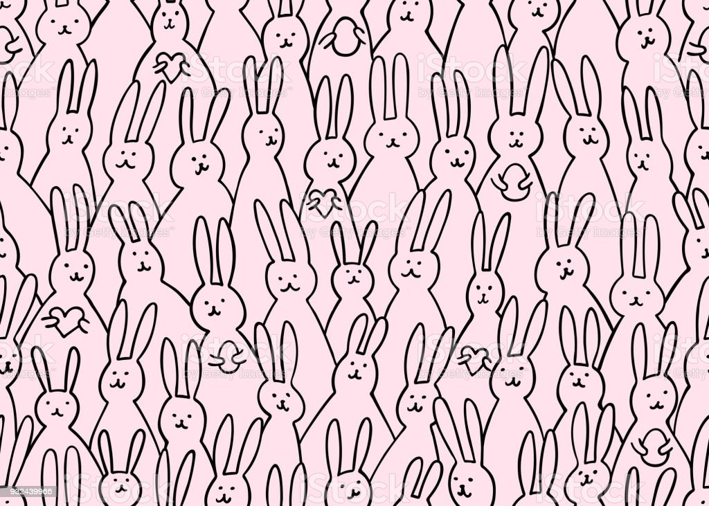 Funny Bunny Seamless Pattern Illustration Of Cute Easter