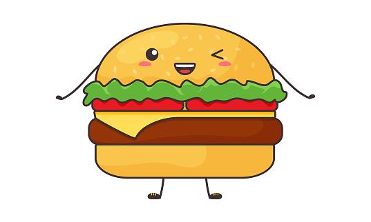 Funny burger kawaii, cartoon vector hamburger, cute character. Food illustration