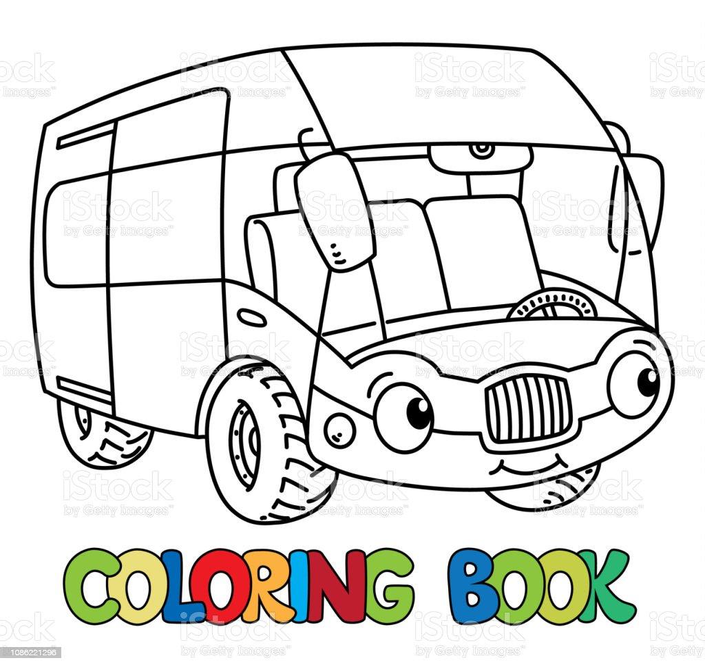 Komik Otobus Ya Da Van Gozlu Boyama Kitabi Stok Vektor Sanati