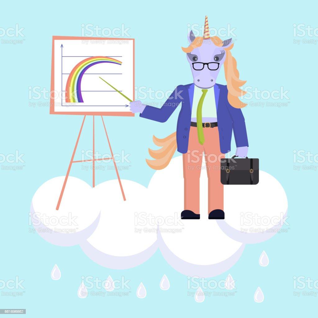 Funny business animal character vector art illustration