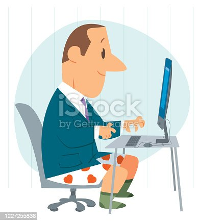 Funny Business Man Working From Home