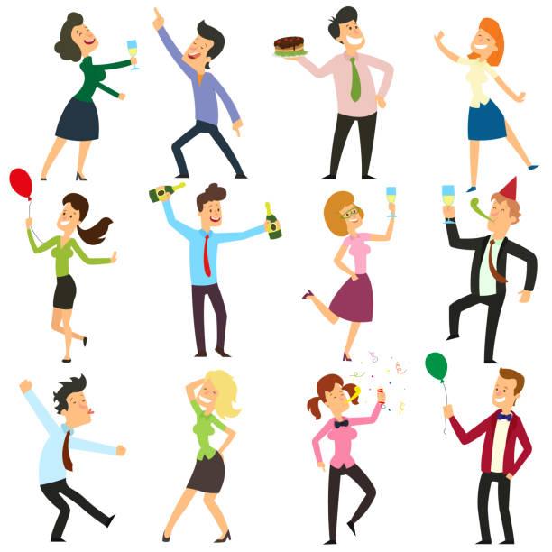 ilustrações, clipart, desenhos animados e ícones de gracinhas de pessoas dançando em uma festa no escritório. - festa da empresa