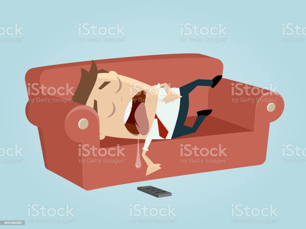 funny businessman sleeping on the sofa vector art illustration