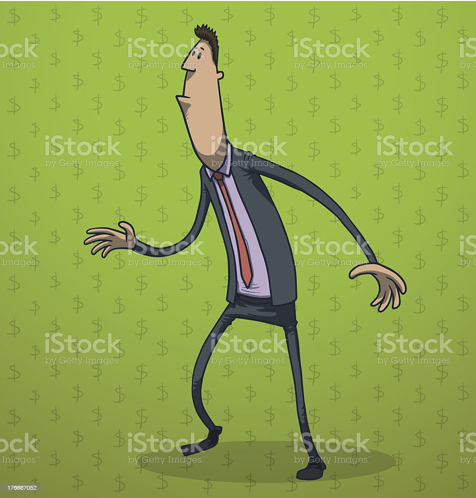 Drôle Homme d'affaires debout - Illustration vectorielle