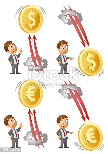 Funny businessman  watches as dollar and euro soars up and falls down. Cartoon styled vector illustration. Elements is grouped. On white background.