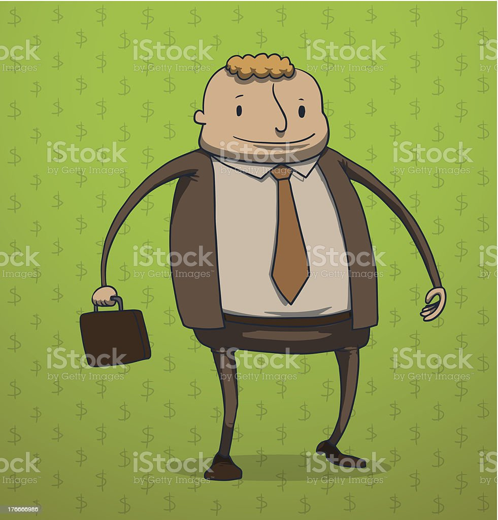 Funny businessman with a briefcase royalty-free stock vector art