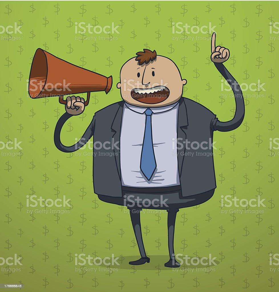 Drôle Homme d'affaires dans un porte-voix - Illustration vectorielle