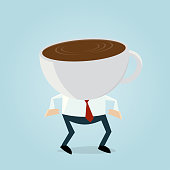 funny businessman with coffee cup head